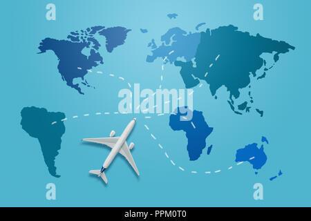 Reisen rund um die Welt. Kleines Flugzeug Modell auf der blauen Karte Welt mit verschiedenen Flugziele - Stockfoto