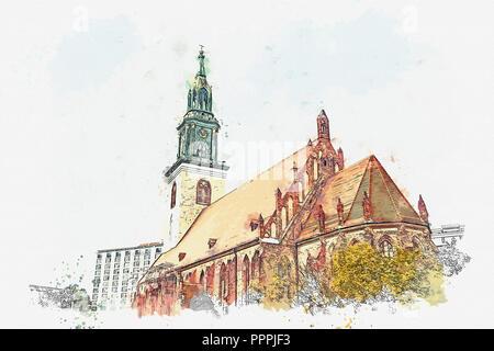 Ein Aquarell Skizze oder Zeichnung der Kirche St. Maria in Berlin in Deutschland auf dem Alexanderplatz. - Stockfoto