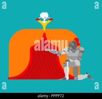 Ritter stehend auf einem Knie und Heiratsantrag Dame. Mittelalterliche Rendezvous. Mittelalterliche Liebe. Valentines Tag. Februar 14 Abbildung. - Stockfoto