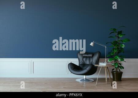 3d-schönen Innenraum Rendern mit Leder arm chhair und Lampe - Stockfoto