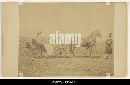 Frau in einem Pferd sitzt mit der Kutsche, Mann in Hut, stehend; George S. Critcherson, amerikanischen, 1823 - 1892, 7. August 1865 - Stockfoto