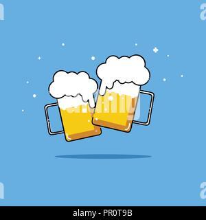 Biere isoliert Vektor-illustration Partei zwei Freund trinken. - Stockfoto