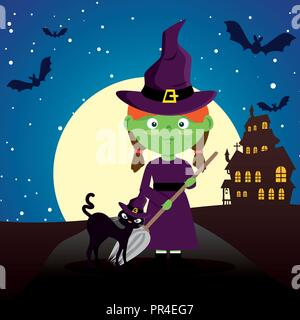 Kinder gekleidet in Halloween Nacht Vector Illustration Design - Stockfoto