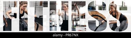 Collage von einer jungen Frau, die die Arbeit mit verschiedenen Geräten in einer Turnhalle mit einem Overlay des Wortes fitness - Stockfoto