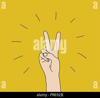 Hand Sieg Geste Zeichen gewinnen Ausdruck Symbol - Stockfoto