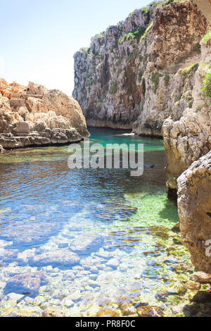 Apulien Leuca, Italien, Grotte von ciolo - An der Bucht von Grotoo Ciolo - Stockfoto