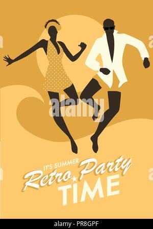 Lustig Paar tragen Badewanne Kleidung tanzen und springen auf den Strand. Retro Style. - Stockfoto