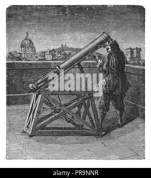 19. Abbildung eines alten Teleskop mit einem Spiegel. In Novoveki Izumi u znanosti i umjetnosti obrtu veröffentlicht, von dr. Bogoslav Sulek, dr. Mi - Stockfoto