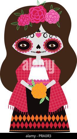 Vector Illustration der Roten catrina Puppe auf einem weißen Hintergrund. Feiern den Tag der Toten und Halloween. Einsatz in Scrapbooking, Handwerk - Stockfoto