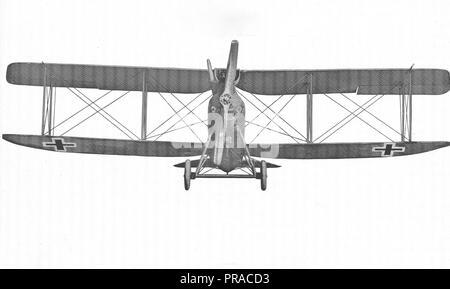 Arten von deutschen Flugzeugen. Rumpler Biplace Biplan. Ansicht von vorn - Stockfoto