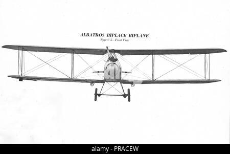 November 1918 - Arten von deutschen Flugzeugen. Albatros Biplace Biplan. Vorderansicht. Aus 2d-Abschnitt Allgemeine Personal-AEF - November 1918 - Stockfoto