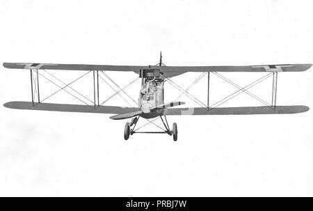 November 1918 - Arten von deutschen Flugzeugen. D.F.W. Biplace Biplan. Ansicht von vorn - Stockfoto