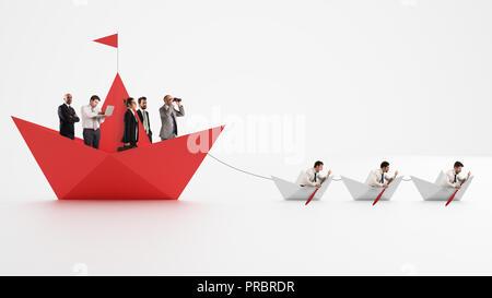 Einigkeit macht stark. Arbeitnehmer, die machen das Unternehmen vorwärts gehen. Konzept der Teamarbeit und der Allianz. 3D-Rendering - Stockfoto