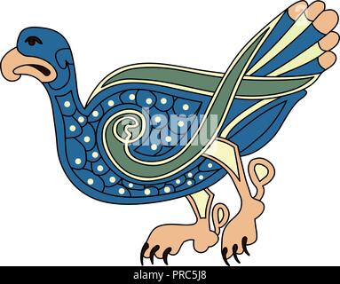 Keltische mittelalterliche Vogel Zeichnung. - Stockfoto