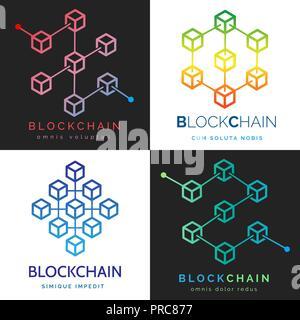 Blockchain Logo. Internet Finanzen cryptocurrency Symbole, digitale Geld crypto Bausteine logo Kette - Stockfoto