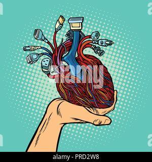 Cyber Herz in der menschlichen Hand - Stockfoto