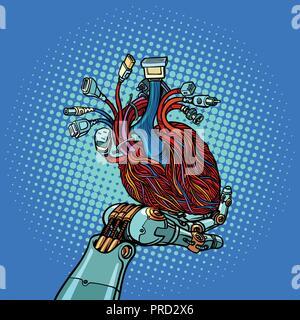 Cyber Herz in Roboter Hand - Stockfoto