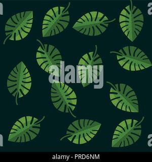 Blätter, der von tropischen Palmen monstera grüner Hintergrund Vector Illustration Stockfoto