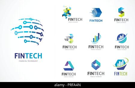 Logo - fintech, blockchain, Technologie, Biotechnologie, tech Icons und Symbole - Stockfoto