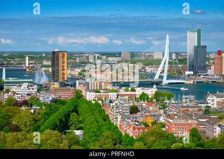 Anzeigen von Rotterdam Stadt und der Erasmus Brücke - Stockfoto