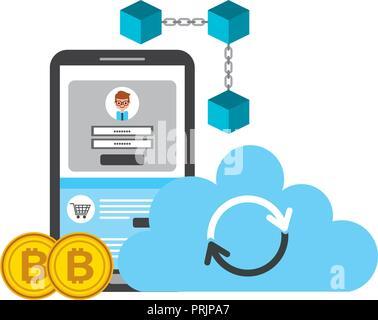 Smartphone cloud computing blockchain bitcoins Fintech - Stockfoto