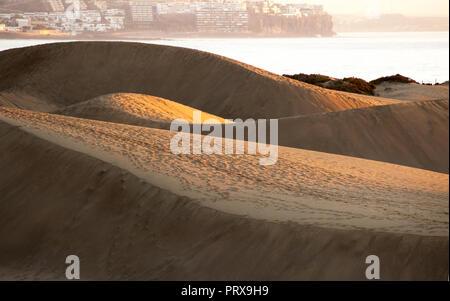 Blick auf die Dünen von Maspalomas ist eine einzigartige wild in Gran Canaria, Spanien, - Stockfoto