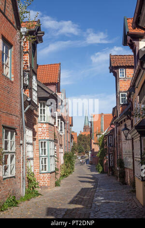 Historisches Haus Fassaden der Altstadt, Lüneburg, Niedersachsen, Deutschland, Europa - Stockfoto