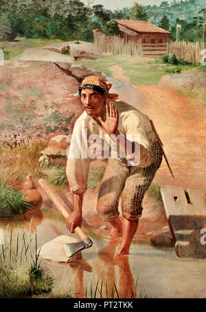 Jose Ferraz de Almeida Junior, Unterbrochen Whetting 1894 Öl auf Leinwand, Pinacoteca do Estado de Sao Paulo, Sao Paulo, Brasilien. - Stockfoto