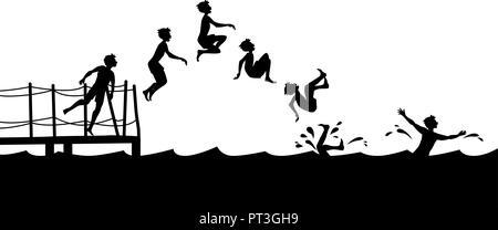Sequenz Seitenansicht der Junge ins Wasser springen vom Pier. - Stockfoto