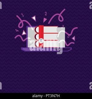 Flaches Design business Vektor-illustration leere Raum für Ad Web site Förderung esp Banner-vorlage isoliert. Bücher stapeln auf leeren Computer Monito - Stockfoto