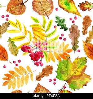 Florale nahtlose Muster mit Herbst aquarell Blätter - Stockfoto