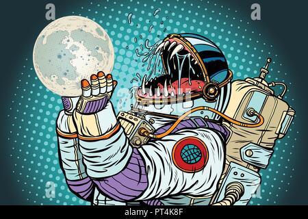 Astronaut Monster frisst Mond. Gier und Hunger der Menschheit Konzept. Pop Art retro Vektor illustration Vintage kitsch - Stockfoto