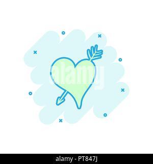 Cartoon farbige Herz Symbol im Comic-stil. Liebe handgezeichnete Abbildung Piktogramm. Herzen anmelden splash Geschäftskonzept. - Stockfoto