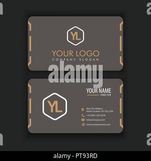 Modernen, Kreativen und sauber Visitenkarte Vorlage mit orange dunkle Farbe - Stockfoto