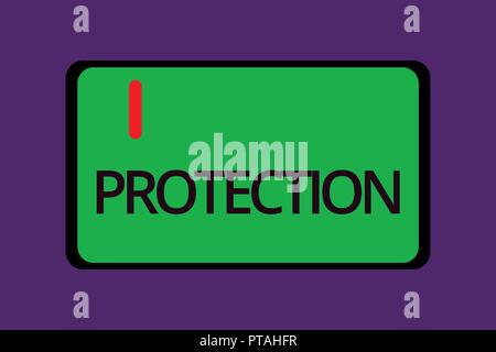 Text Zeichen angezeigt. Konzeptionelle foto Staat geschützt werden, Schaden von Verlust Gefahr gehalten Sicherheit geben. - Stockfoto