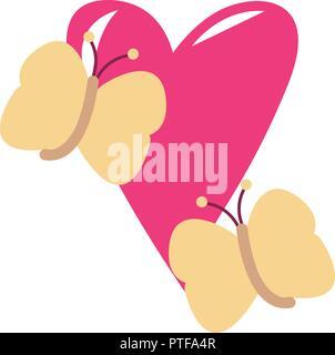 Schmetterlinge auf Herz - Stockfoto