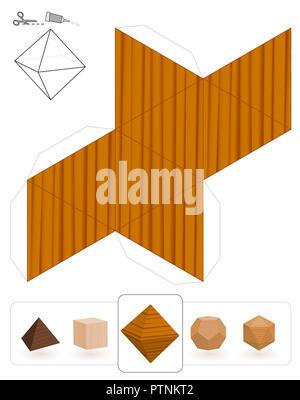 oktaeder platonischen solide vorlage papier modell eines. Black Bedroom Furniture Sets. Home Design Ideas