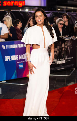 London, Großbritannien. 10.Oktober 2018. Michelle Rodriguez bei Witwen Premiere und Premiere der 62. BFI London Film Festival 2018 am Mittwoch, 10 Oktober, 2018 bei Cineworld, Leicester Square, London, England. Credit: Tom Rose/Alamy leben Nachrichten - Stockfoto