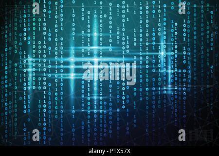 Abstrakte matrix Hintergrund. Vector Illustration. Der binäre Code blau. Virtuelle Technologien - Stockfoto
