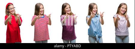 Collage der junge schöne Mädchen Kind über isolierte Hintergrund Pointing Finger Kamera mit glücklich und lustiges Gesicht. Gute Energie und Stimmung. - Stockfoto
