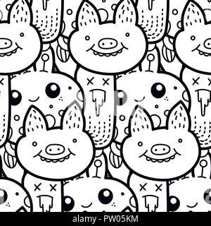 Zentangle abbildung mit schwein zen wirrwarr oder doodle for Mal muster fur wande