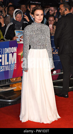 London, Großbritannien. 11. Okt 2018. Keira Knightley auf der 62 BFI London Film Festival: Colette - Gönner Gala - Cineworld Leicester Square, London am Donnerstag, 11. Oktober 2018 Foto von Keith Mayhew Credit: KEITH MAYHEW/Alamy leben Nachrichten - Stockfoto