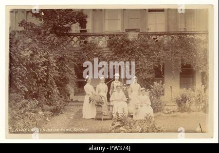 Edwardian Postkarte Portrait der Krankenschwester, die Zimmermädchen an der Kent Haus Pflegeheim, Torquay, Devon, UK veröffentlicht am 7. Juni 1906 - Stockfoto