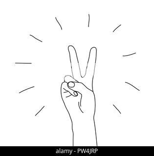 Hand Sieg Geste das Symbol isoliert auf weißem - Stockfoto