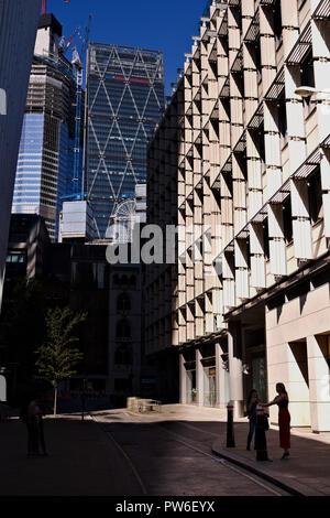 London, UK, September 02, 2018: London City Blick auf Rood Linie Leadenhall Building - Stockfoto