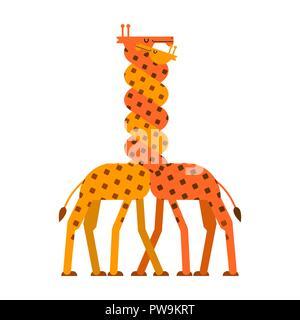Giraffe Liebe. Twisted Neck zwei Giraffen. Vektor Tiere - Stockfoto
