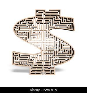 Holz Form Labyrinth in weißem Hintergrund - Stockfoto