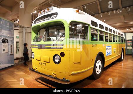 Die ursprüngliche Bus, Rosa Parks ihren Protest auf in Alabama, im Henry Ford Museum in Detroit, Michigan, USA - Stockfoto
