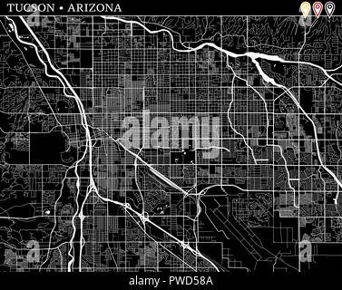 Tucson Arizona Karte.Moderne Stadtplan Tucson Arizona Stadt Der Usa Mit