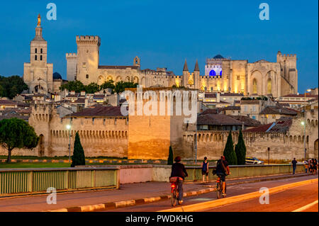 palais des papes und kathedrale in der nacht avignon vaucluse provence frankreich stockfoto. Black Bedroom Furniture Sets. Home Design Ideas
